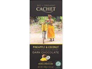 Organska Crna Čokolada sa Kokosom i Ananasom Cachet 100g